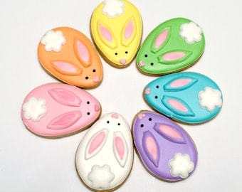 Decorated Cookies -VANILLA- Easter - Rabbits - Easter Bunnies - 1 DOZEN