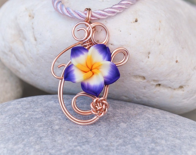 Rose gold pendant with purple clay flower ~ Nature inspired