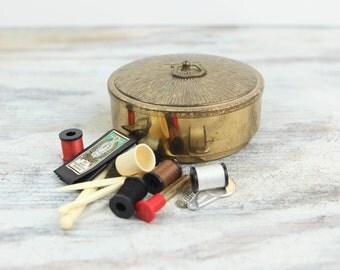 Vintage Brass trinket / Sewing box. (see Item Details for full description)