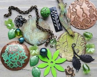 Vintaj Designer Table Sweepings {Handmade Pendants, Mixed Metal, Charms, Chain, Flowers, Leaves, Branch, Green Beads} Mixed Lot - MX049