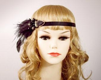 Art Deco Headband Black Gold Headband - Flapper Girl Headband 1920 20s Headband - Feather Headband