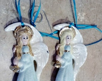 Two handmade and painted vintage porcelain Angels