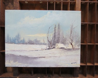 Small Original Painting // Vintage Winter Cabin Scene Snowy Forest Blue White Gray Signed Eldering Painting on Canvas Wall Art Home Decor