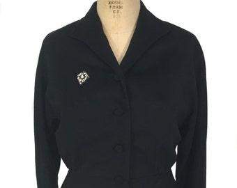 vintage 1950s cropped jacket / Youthcraft / black / wool / beaded jacket / women's vintage jacket / size medium