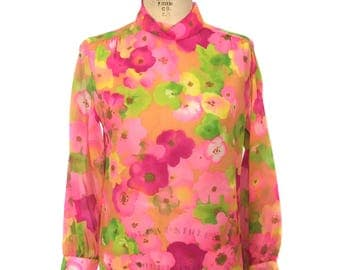 vintage 1970s sheer floral blouse / Camilla / neon bright bold / mock turtleneck / see-through / women's vintage blouse / tag size 12