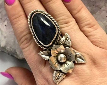 Sodalite Ring, Blue Ring, Sterling Silver jewelry, flower ring, skull ring jewelry, Sodalite Flower Ring