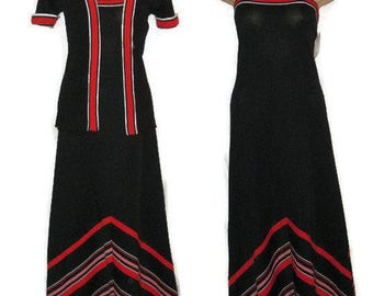 SALE Vintage 1970s Dress and Jacket Floor Length Maxi Dress Black Red White Chevron Pattern Sundress Sears Polyester Funky M chest 36