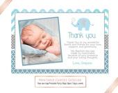 Elephant Christening Thank you, Elephant Baptism, Blue and Grey Baptism Thank you, Christening Thank you Card