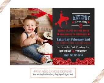 Chalkboard Cowboy Birthday Invitation, Cowboy Birthday Invite, Cowboy Invitation, Western Birthday, Cowboy Party, DIY Custom Printable