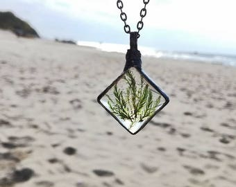 Terrarium Necklace, Moss Jewelry, Green necklace, Boho necklace, Bohemian pendant, Terrarium Pendant, woodland necklace, Gift for her