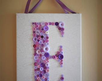 Button Letter Canvas Art - Hand Sewn Custom Button Letter Art Canvas