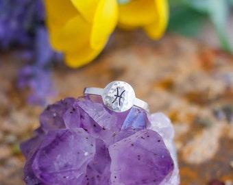 Hammered Silver Zodiac Ring - Silver Ring - Zodiac Jewelry - Zodiac Gift - Astrology Gift - Astrology Ring