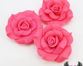 42mm Pink Polymer Clay Rose Flatback Cabochons ( 3 pieces ), Flower Cabochons, Large Flower, pink flowers
