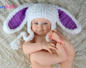 White Easter Bunny Hat Fluffy Bunny Ears Beanie Pink Rabbit Hats for kids Fluffy White Bunny hats Baby Hats