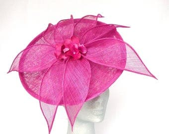 CHELSEA - Geisha Pink disc Fascinator Hat Headpiece Hatinator for Weddings Mother of Bride Derby Royal Ascot Kentucky Derby Ladies Day Races