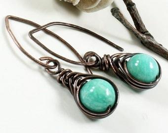 Amazonite Earrings, copper wire herringbone wrap, natural green gemstone, hand-forged artisan earrings, modern dangle earrings, gift for her