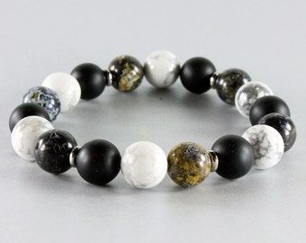 Stretch Gemstone Bracelet, Mens bracelet, Black Onyx, Ocean Stone, Howlite, silver, semi-precious, natural stones, Stackable, gift, 3217