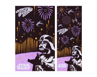 Japanese tenugui Dark Vader fabric, whater fall tenugui, kawaii fabric, noren fabric, wall decoration, star wars wall art, star wars fabric