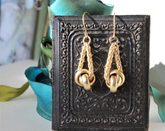 Matte Gold Earrings, Knot, Dangle earrings, perfect match for Iconic Designer Button Necklace, Statement Earrings very Donna