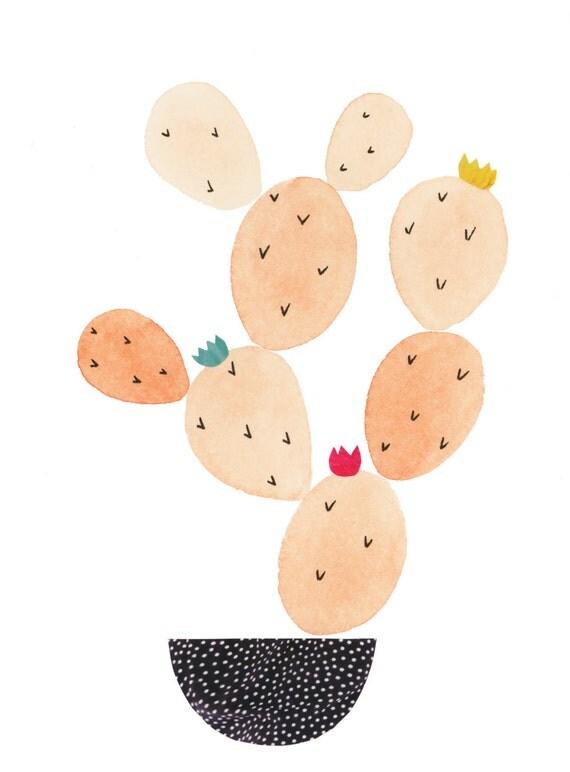 Prickly Pot in Peachy Archival Print // Cactus Art // Cacti Art // Cactus Painting // Desert Art // Botanical Art // Pink Art //