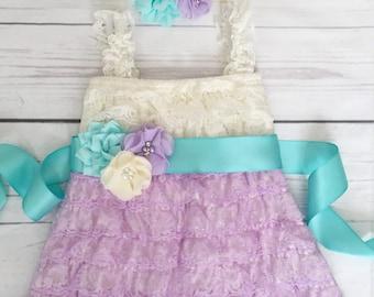 Baby girl lace dress-lace dress-Easter spring dress-1st birthday dress-aqua lavender ivory dress-aqua lavender flower girl dress-cake smash