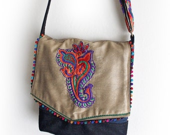 Upcycled Indian Embroidery and Denim Messenger Bag Handmade Unique