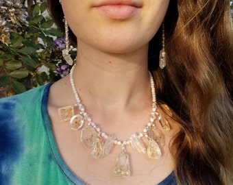 Serenity of the Moon- Boho, Hippie, Nature Inspired Statement Necklace Earring Set for Women