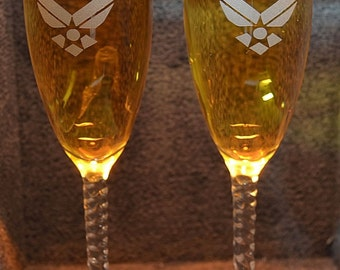 Personalized Millitary Air Force  wedding toasting flute glasses, Name & Date added FREE