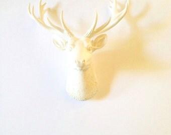 WHITE SMALL Deer Head Faux Taxidermy wall mount wall hanging / stag head / white decor / farm house decor / woodland decor / nursery kids rm