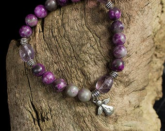 Charoite and amethyst bracelet with an angel charm