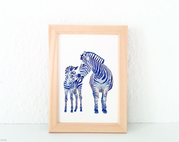 Zebra mother and baby print, Zebra illustration, Mother and child art, Safari animals, Savannah wildlife, Nursery animal art, Baby animal