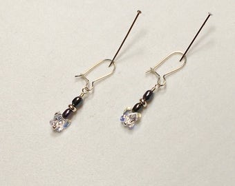 Swarovski Crystal Butterfly With Freshwater Pearl And Sterling Silver Earring, Crystal Butterfly Earring, Freshwater Pearl Earring