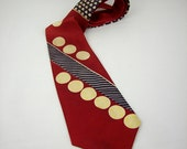 Vintage Art Deco Silk Necktie, 1920s Red, Blue Yellow Polka Dots