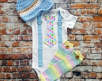 Baby Boy Easter Tie Bodysuit w Suspenders, Visor Crocheted Hat, Button Leg Warmers. Pastel Egg.  Baby Shower Gift, Photo Prop, Easter Boy