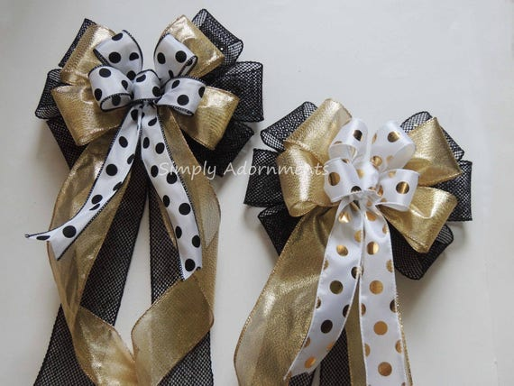 Black Gold Christmas Wreath Bow Black Gold New Year Party Decor Gold Black Wedding Pew Bow Black Gold Grad Party Decor Graduation Gift Bow