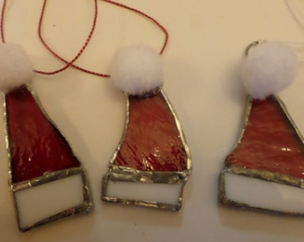 Stained glass Santa hats, hanging tree decorations, set of three.