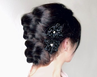 Black Flower Hair Pins, Magnolia Hair Clips, Black Wedding, Flower Bobby Pins, Gothic Wedding, Victorian Flower, Hair Accessory