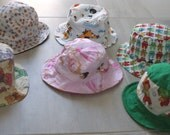Baby Bucket Hats - Sun hat - Infant Size Small - 3 - 6 months. Cotton handmade. Summer gift.