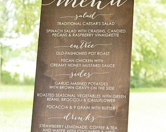 Wedding Menu Sign, Wooden Menu Sign, Wedding Menu Board, Wedding Menu Wood, Wooden Wedding Menu Sign, Custom Menu Sign, Dinner Menu Signs