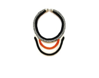 TAHA necklace/ orange / knitted plastron necklace