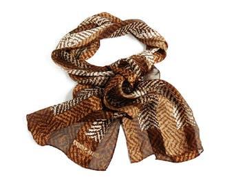 Vintage Animal Print Scarf ANNE KLEIN Designer Fashion, Brown Beige Safari Print Long Narrow Silk Scarf Neckerchief Hair Accessory