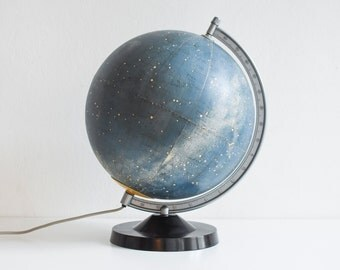 Illuminated astronomy globe, sky map, star globe, astronomical map, 60s globe, GDR East German, Mid-Century modern home decor Ref: 556