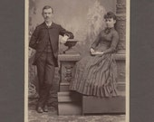 Unusually Posed Cabinet Card of a Couple ~ Very Relaxed Woman