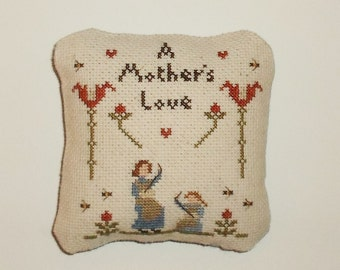 Completed Cross Stitch Primitive Mother's Day Pillow Ornament Tuck
