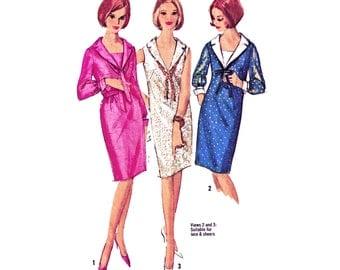 "1965 Vintage Deep V-Neck Shift Dress, Sleeve & Vestee Option, Wide Collar, Use for Sheers/Lace, Simplicity 5926, Bust 32"" Uncut"
