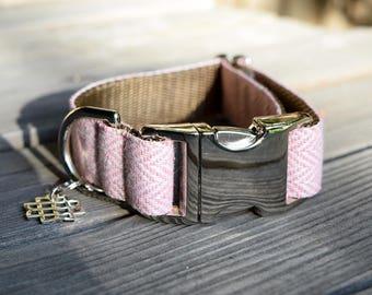 Pink Tweed Herringbone Dog Collar - Adjustable Collar with Metal Hardware and Metal Buckle, Spring Dog Collar