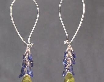 Teardrop cluster hoop earrings kyanite and idocrase, Carnivale 51