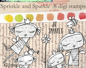 Sprinkle and Sparkle - fairy sisiters in an 8 digi stamp set available for instant download