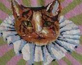 Vintage Kaffee Fassett Finished Needlepoint Cat in a Ruff by Erhman Tapestries