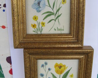 vintage artwork, miniature pair framed florals by Jo O'Bryant, 1970s